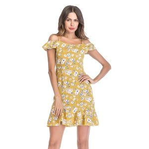 Off-shoulder Floral Chiffon Mini Dress